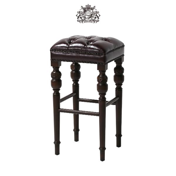 ヴィンセントシリーズ ハイスツール チェア 椅子 家具 ダークブラウン PUレザー チェスターフィールド 1人掛け 9006-B-5P38B ソファ専門店 ロイヤルソファズ