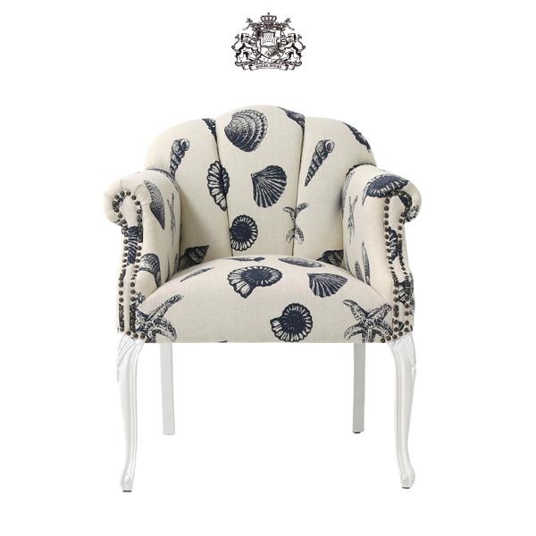 デザイナーズ シーシェルファブリックシェルアームチェア 椅子 イス 肘掛け 猫足 猫脚 アンティーク アンティーク家具調 クラシック ヴィンテージ ビンテージ レトロ シェル 貝殻モチーフ 布地 ファブリック 貝殻 シェル 6096-18f201