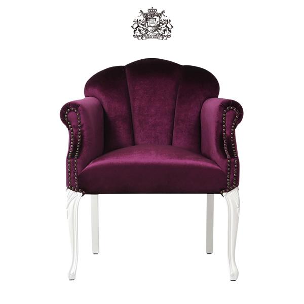 ロイヤルパープルベルベットシェルアームチェア 椅子 イス 肘掛け 猫足 猫脚 アンティーク アンティーク家具調 クラシック ヴィンテージ ビンテージ レトロ シェル 貝殻モチーフ 布地 布製 ファブリック ホワイト 白 6096-18F222