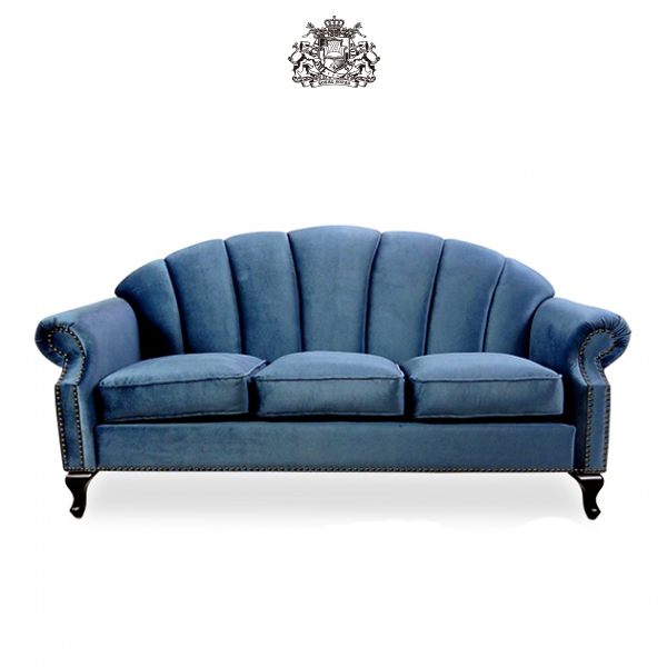 VS3F92K デザイン シェル 3人掛け 3シーター ソファ ソファ専門店 ベルベット 青 ロイヤルソファズ ソファ デザイナーズ ブルー