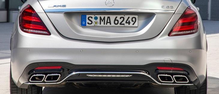 メルセデス ベンツ Sクラス W222 マイナー後純正品 AMG S63リアディフューザー+マフラーエンドセットAMGライン車用 S300 S400 S450 S560
