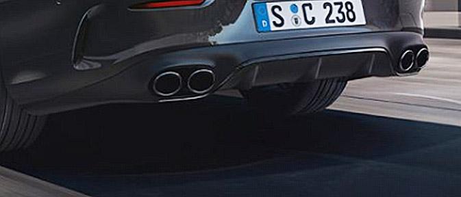 純正品 AMG E53 リアディフューザー+マフラーエンドセットMercedes Benz メルセデス ベンツEクラス クーペ カブリオレ C238 A238ナイトパッケージ用 ラウンド出口ブラック