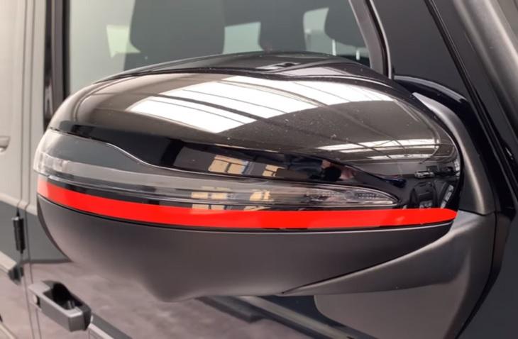 New Gクラス W463A AMG 純正ドアミラーレッドストリップ 左右セット G350d G550 G63 ゲレンデヴァーゲン Edition1用 Mercedes Benz メルセデス ベンツ