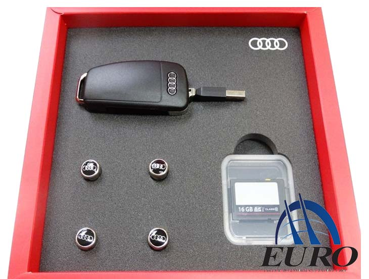 Audi 純正 アクセサリーボックスUSBメモリー・SDカードエアバルブキャップ4個