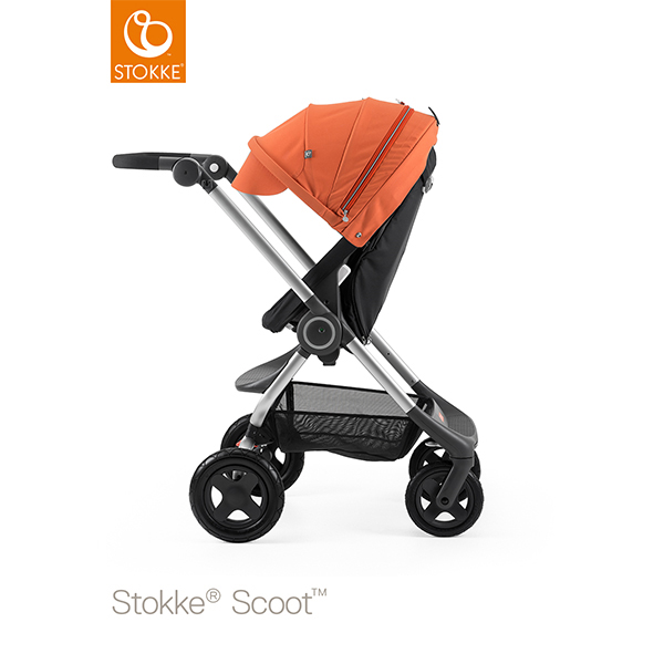 【STOKKEストッケ正規販売店】Stokke Scoot2ストッケ 新スクート2セットベーシックキット(ブラック) +キャノピー(オレンジ)