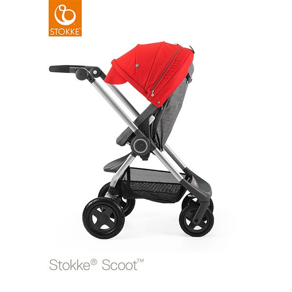 【STOKKEストッケ正規販売店】Stokke Scoot2ストッケ 新スクート2セットベーシックキット(ブラックメラーンジ) +キャノピー(レッド)