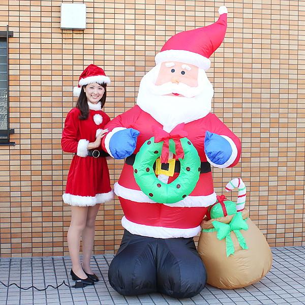 クリスマスエアブロー装飾 サンタ H260cm / ディスプレイ エアブロウ/ 動画有