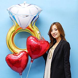 【結婚祝い】ウェディングバルーンギフト ウエディングリング [大型商品160cm以上]