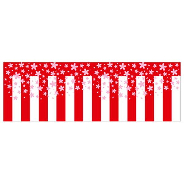 お花見装飾 ビニール幕 桜紅白 幅60cm×50m巻 / 春 飾り ディスプレイ