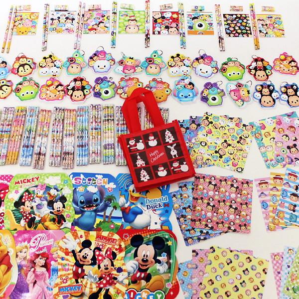 ディズニーツムツム・ディズニー文具色々150個セット、XMASギフトフレンドバック50枚付