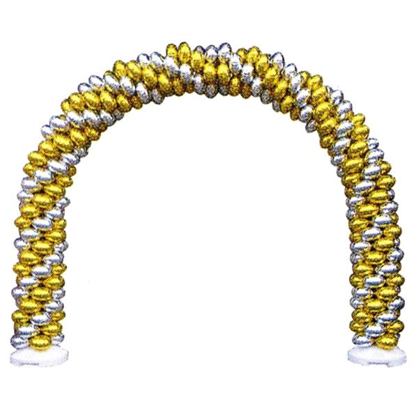 バルーンアーチセット C-銀×金 [大型商品160cm以上]