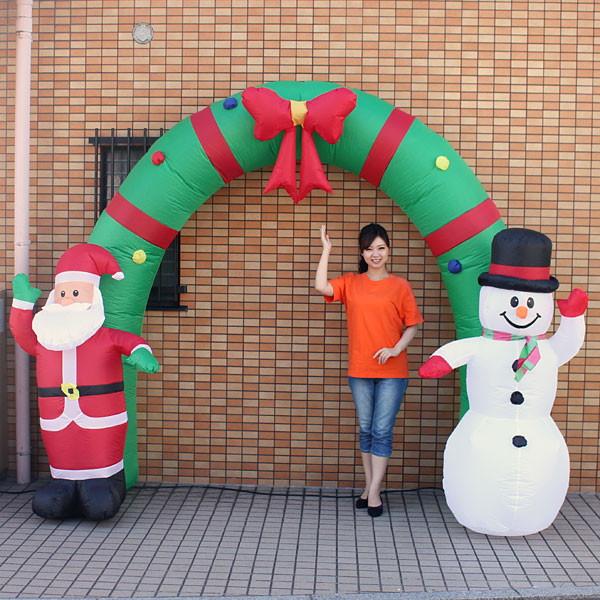 クリスマスエアブロー装飾 アーチ W350cm H240cm / ディスプレイ エアブロウ サンタ/ 動画有