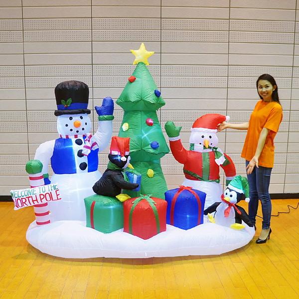 クリスマスエアブロー装飾 ツリー&スノーマン H210cm×W210cm