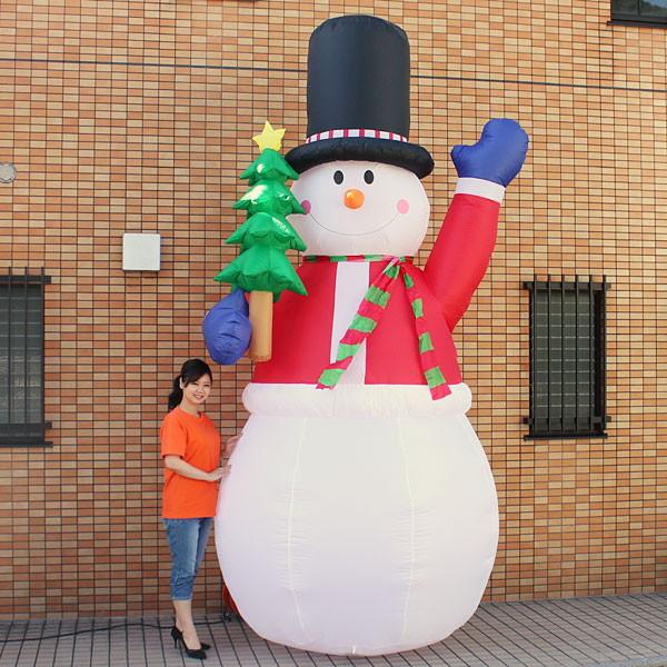 クリスマスエアブロー装飾 ジャンボスノーマン&ツリー H360cm×W200cm/動画有