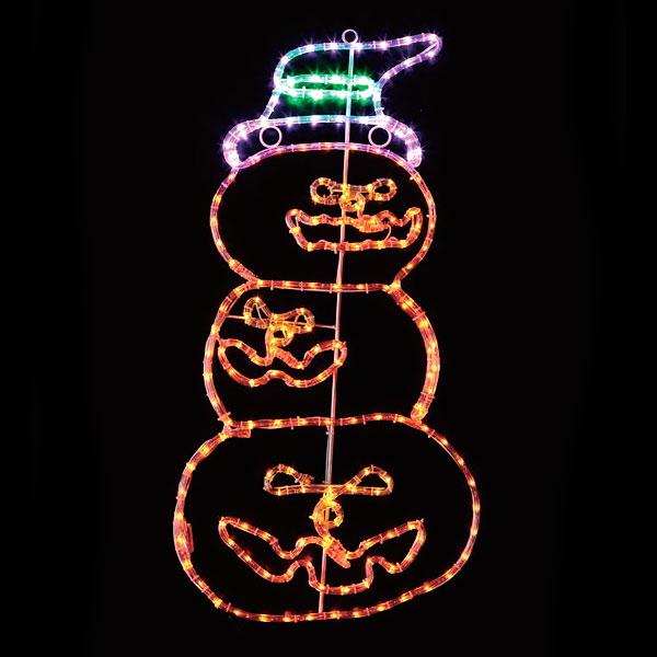 [大処分特価]ハロウィン装飾 LEDチューブライト3連パンプキン H90cm