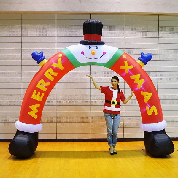 クリスマスエアブロー装飾 アーチスノーマンレッグ W340cm H300cm