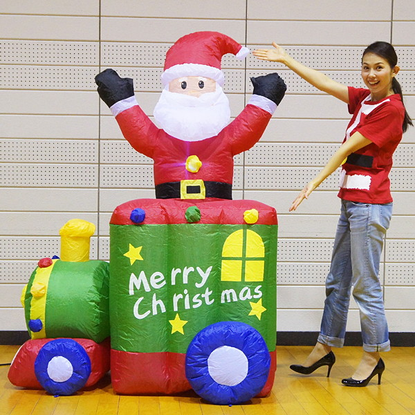 クリスマスエアブロー装飾 ムービングトレインサンタ H180cm×W120cm