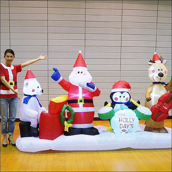クリスマスエアブロー装飾 クリスマスサンタバンド H175cm×W297cm