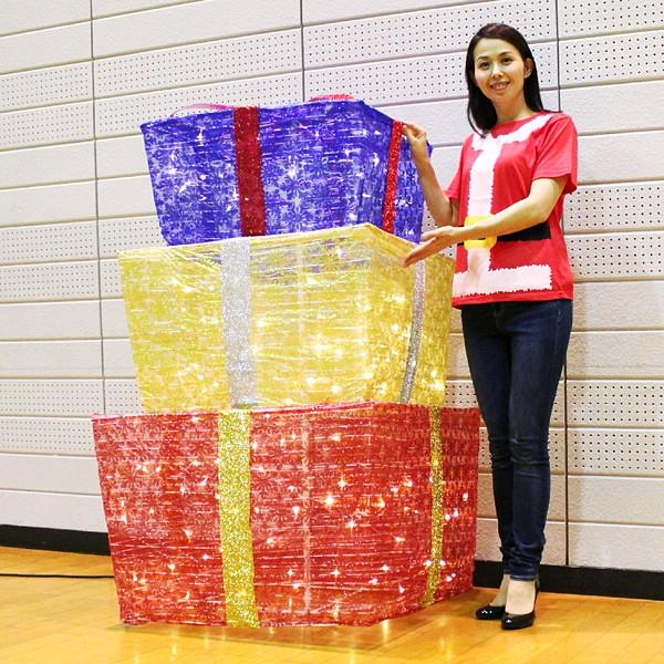 [B級品特価] 折りたたみデコレーション 3連プレゼントボックス H150cm / イルミネーション クリスマス 装飾 飾り/動画有