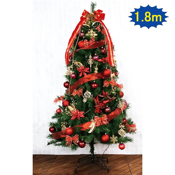 クリスマス装飾 クリスマスツリー カナディアンREDシリーズ 180cm