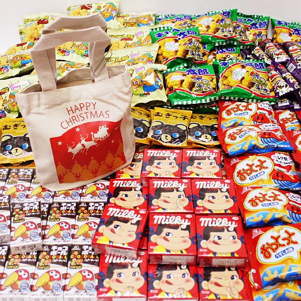 お子様用クリスマスお菓子色々200個セット、XMASトートバック100枚付/動画有