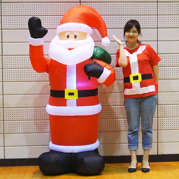 クリスマスエアブロー装飾 動くハンドムービングサンタ H180cm/動画有