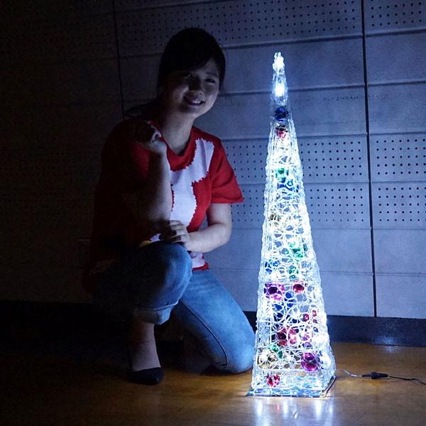 LEDイルミネーション クリスタルポールツリー H90cm トゥインクルホワイト/動画有 [北海道 沖縄 離島への配送不可]