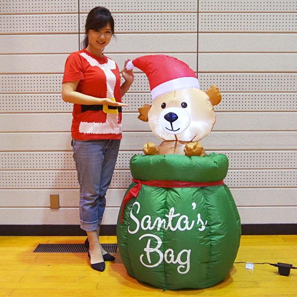 クリスマスエアブロー装飾 ムービングベア サンタバック H120cm×W70cm