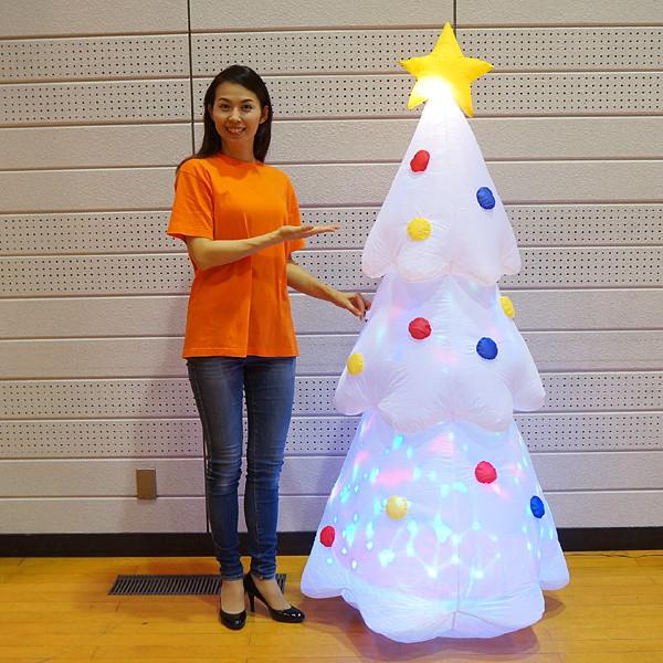クリスマスエアブロー装飾 ディスコライト ホワイトツリー H180cm / ディスプレイ エアブロウ/ 動画有
