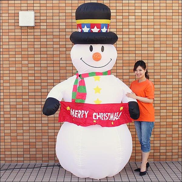 クリスマスエアブロー装飾 スノーマン H240cm / ディスプレイ エアブロウ 雪だるま/ 動画有