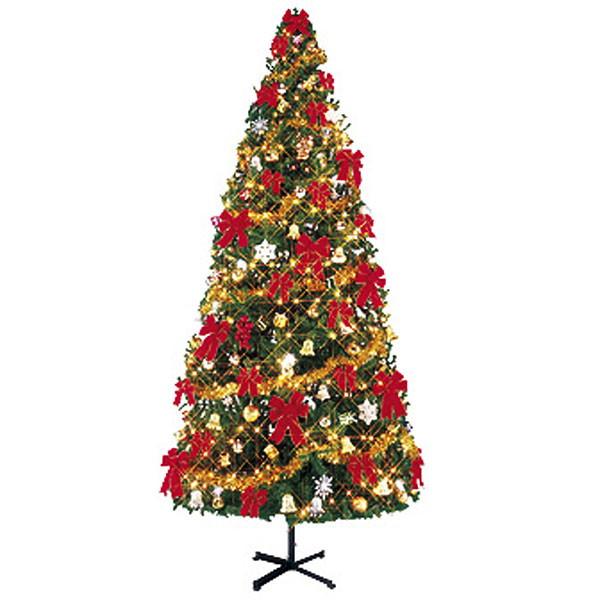 クリスマスツリーセット 450cm オーナメント付・100球ライト×3本付 / 装飾 ディスプレイ 飾り