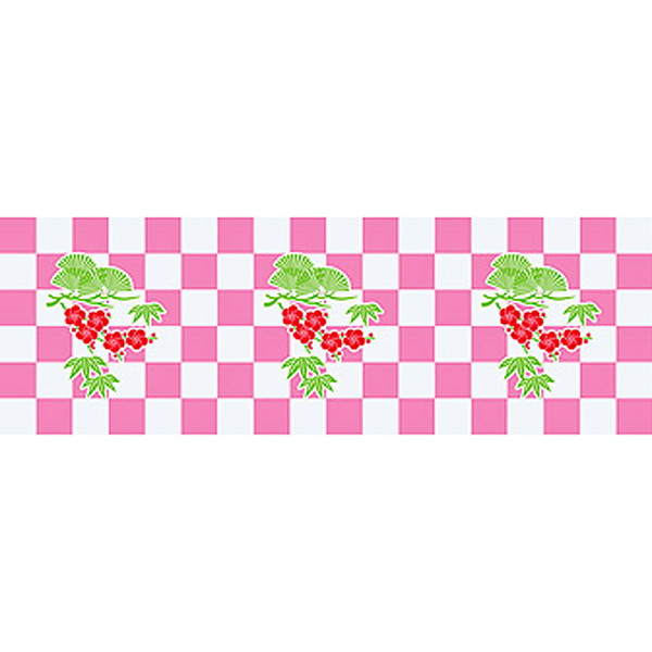 正月装飾ビニール幕 松竹梅市松 60cm×50m巻