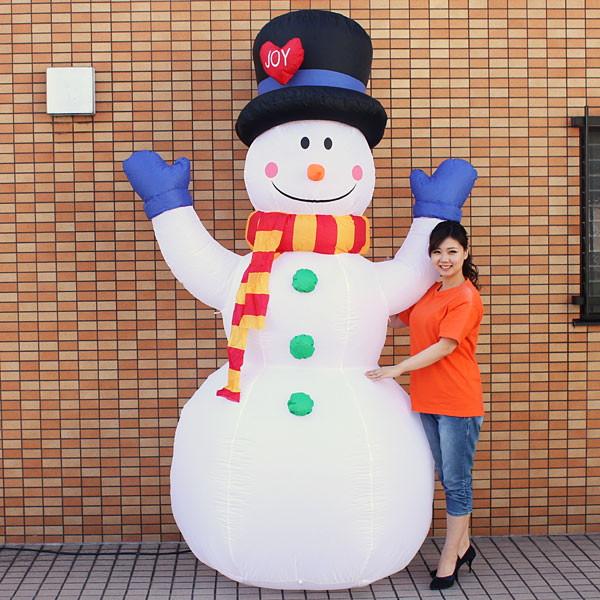 クリスマスエアブロー装飾 スノーマン ジョイフル H260cm / ディスプレイ エアブロウ 雪だるま/動画有