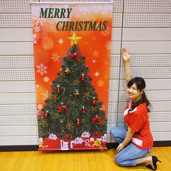 クリスマス装飾 立体タペストリー(オーナメント12個 取付ボタン付き) レッドクリスマス H180cm