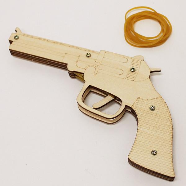 爆安 no-6493 輪ゴムピストル TYPE4 単発式モデル 木工工作キット 短発式モデル Bタイプ 動画有 メール便可 訳あり 輪ゴム銃