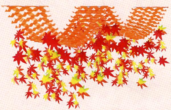 no-8870 全国一律送料無料 季節の装飾 店舗飾り 造花 秋の装飾 L200cm 2連プリーツハンガー 特価キャンペーン 秋もみじ装飾 紅葉 もみじ
