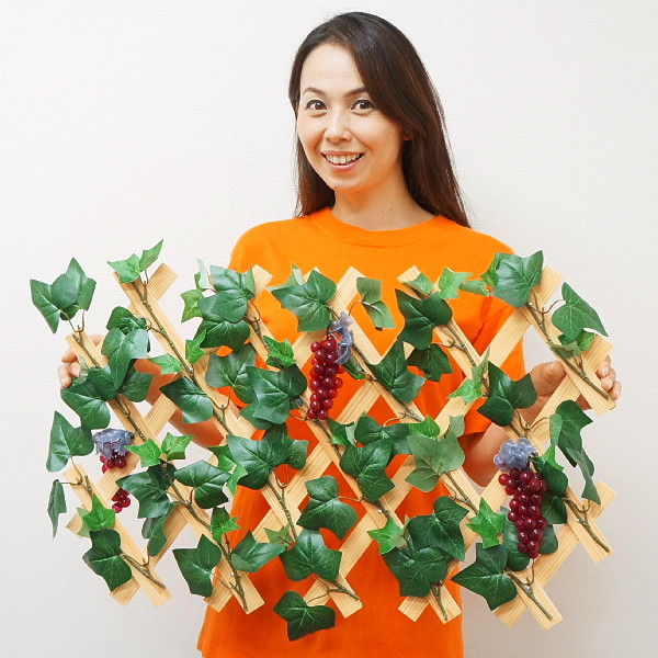 秋の装飾 ぶどうワイン売場装飾 ぶどうフェンス[ぶどうトレリス] W80cm