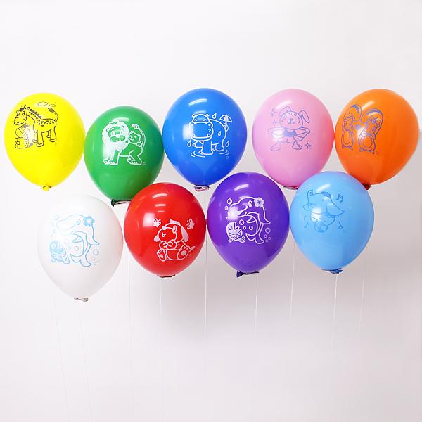天然ゴム風船 まんが柄ヘリウムガス用(300ヶ) 糸付きボール紙どうぶつクリップ【バルーン】/ 動画有