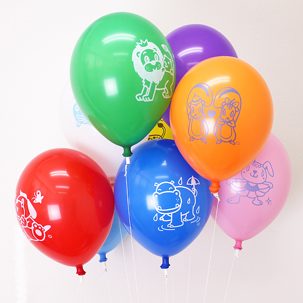 天然ゴム風船 10インチ まんが柄ヘリウムガス用(300ヶ) ワンタッチバルブ、糸付【バルーン】 /動画有