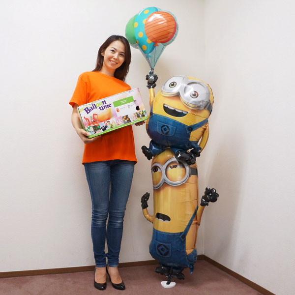 【セットでお得】キャラクター風船 ミニオンスタッカーH190cm+ヘリウム缶とおもりのセット
