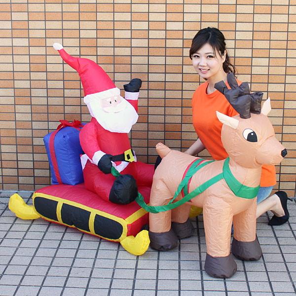 [送料無料] クリスマスエアブロー装飾 サンタ&ソリ&トナカイ H95cm W142cm / ディスプレイ エアブロウ/ 動画有