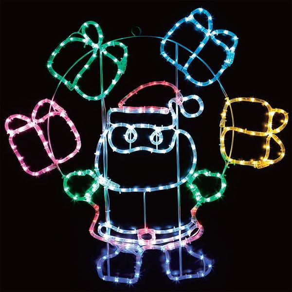 [送料無料] LEDイルミネーション チューブライト サンタ&プレゼントボックス H85cm / 動画有