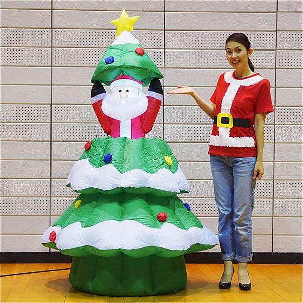 [送料無料] クリスマスエアブロー装飾 ムービングツリーサンタ H180cm×W100cm