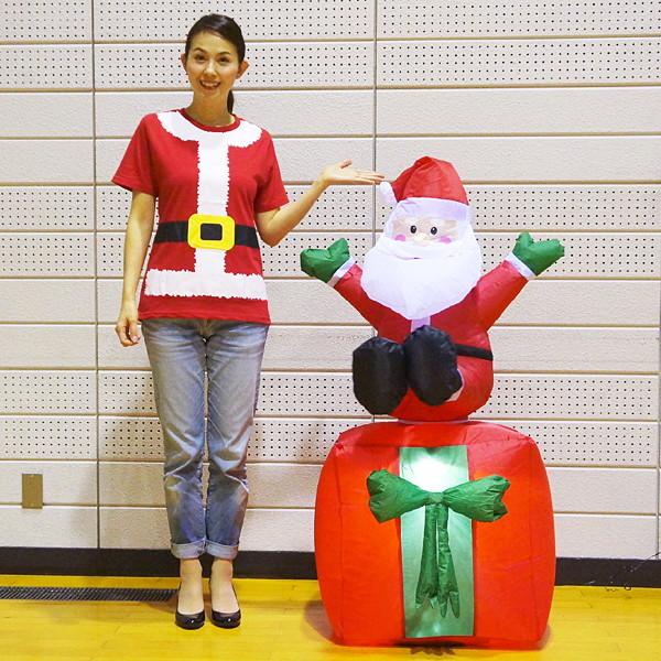 [送料無料] クリスマスエアブロー装飾 ムービングプレゼントサンタ H120cm×W75cm