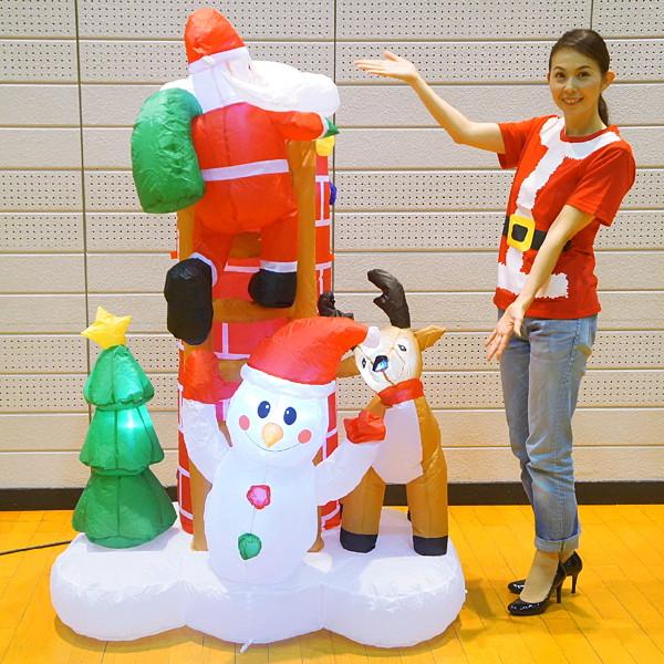 [送料無料] クリスマスエアブロー装飾 はしごのサンタシーン H180cm×W125cm