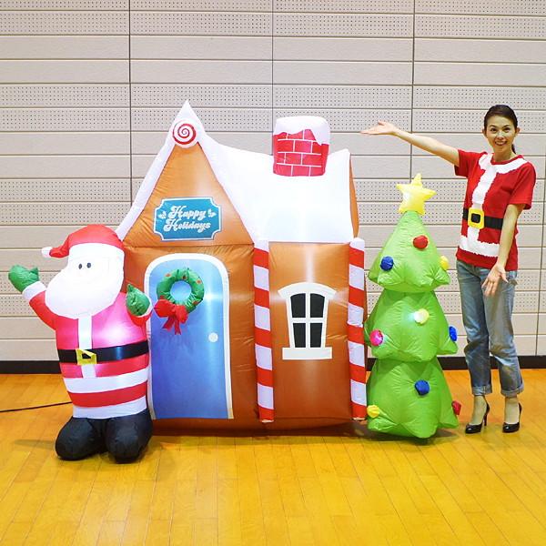 [送料無料] クリスマスエアブロー装飾 サンタハウス&ツリー H180cm×W240cm
