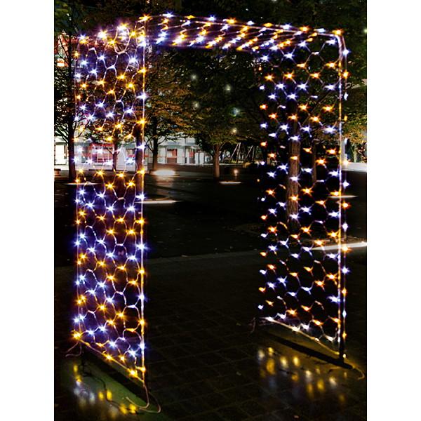 [早期割引セール] LEDイルミネーションゲート(ゴールド&ホワイト) W140×H200cm / クリスマス 装飾 飾り
