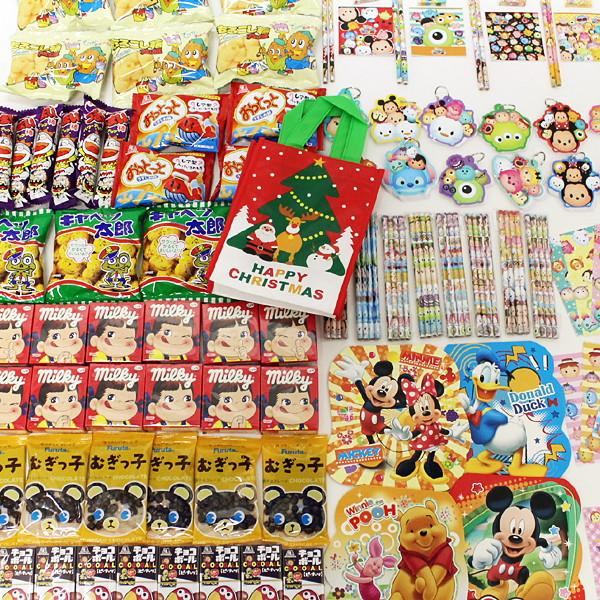 [送料無料] お菓子色々200個とディズニー文具色々200個のクリスマスギフト400個セット、XMASツリーバッグ100枚付