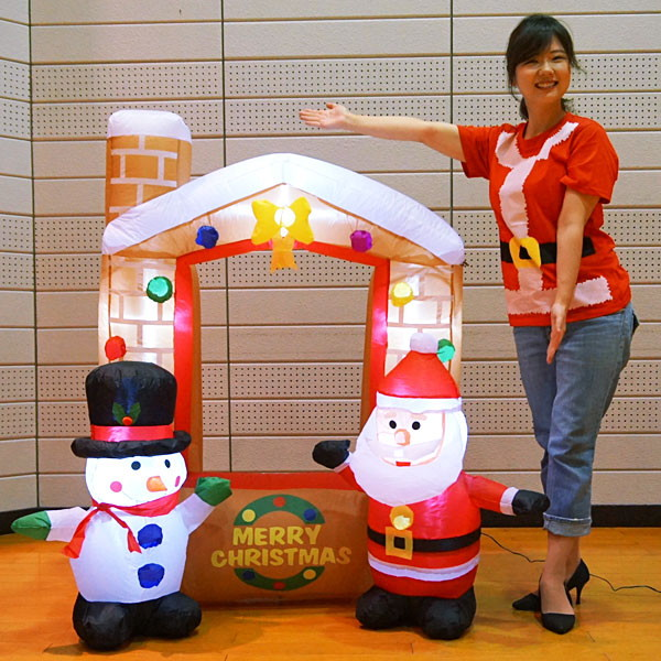 [送料無料]フォトスポットエアブロー装飾 クリスマスハウス H137cm