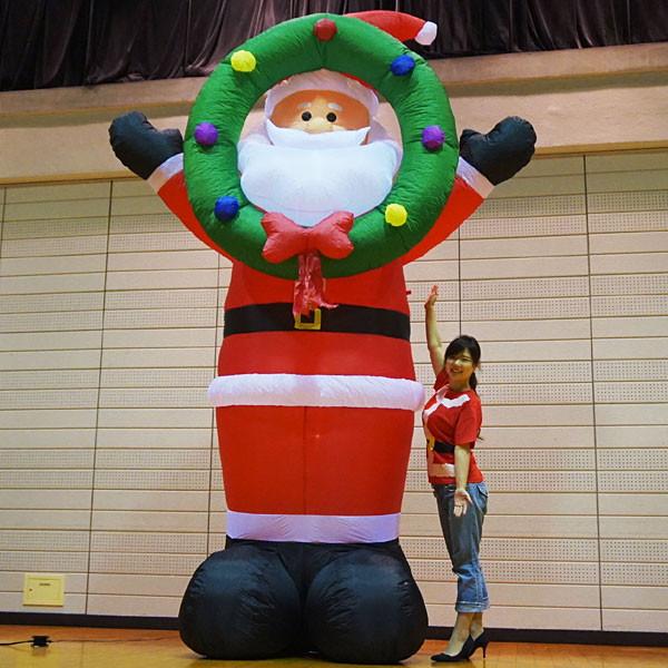 [送料無料]クリスマスエアブロー装飾 ビッグリースサンタ H360cm